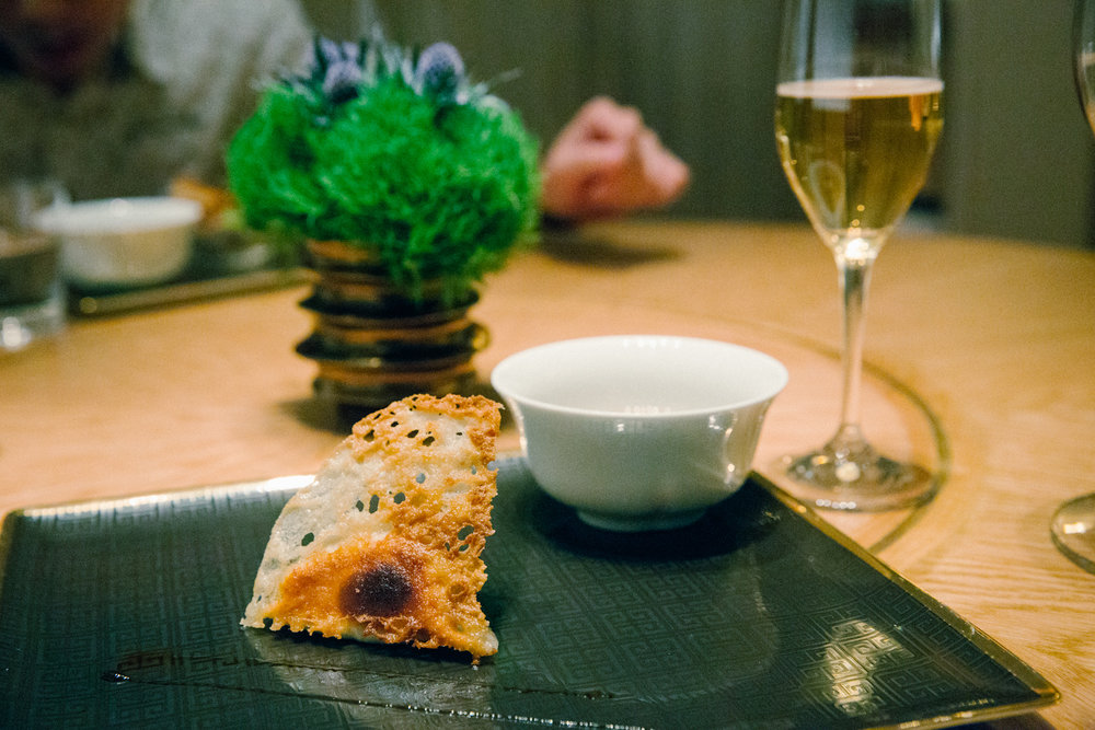 Plated Foie Gras Potsticker.