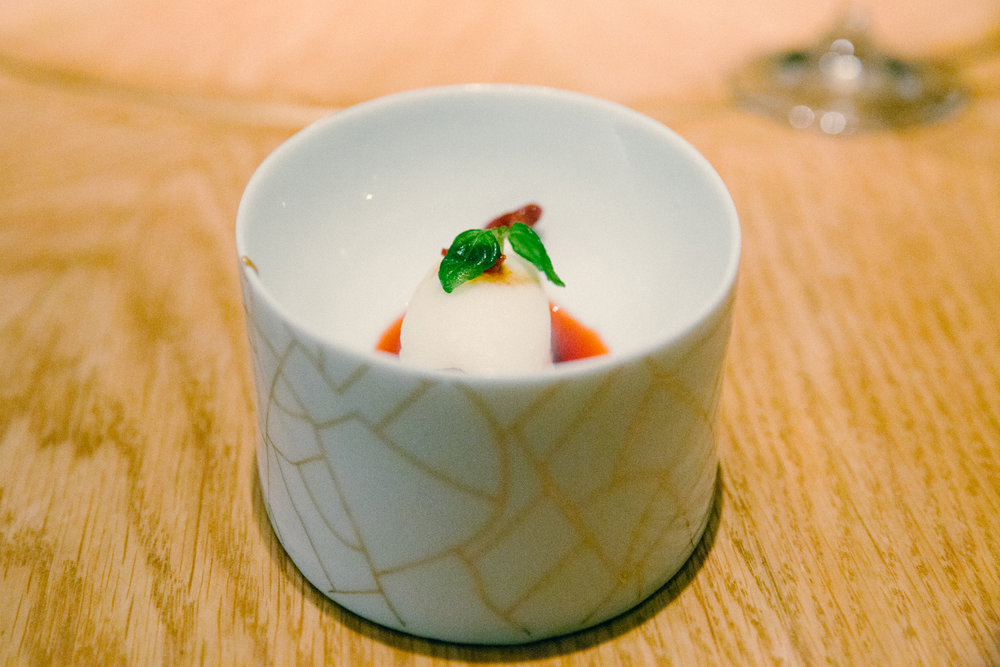 Fermented Rice Sorbet with Goji Berry Vinegar