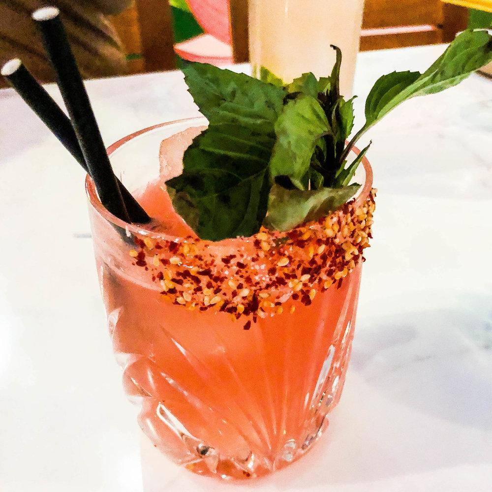 Watermelon soju cocktail.