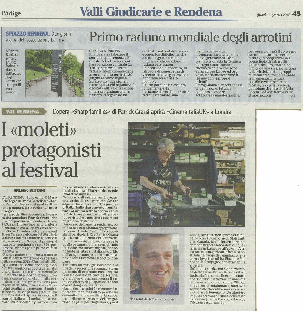 L'Adige, 11 Gennaio 2018                             Di Giuliano Beltrami