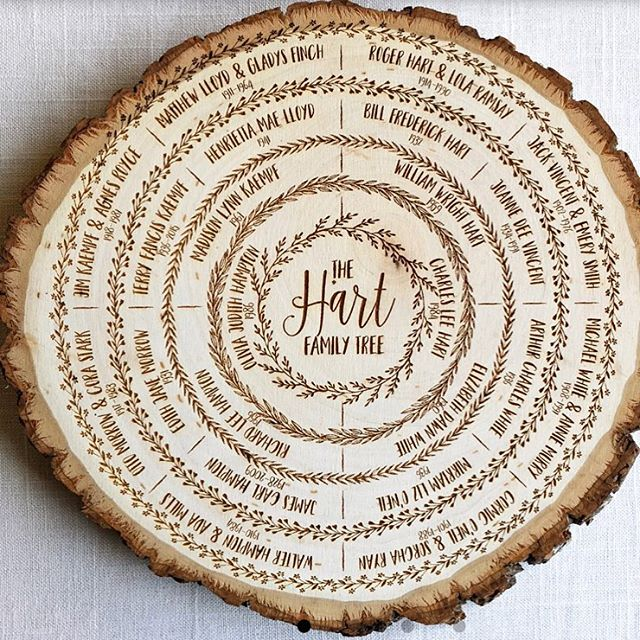What a great way to display a family tree, literally! I can't remember where I found this but if you know, please tag the creator! . . #handmade #makersmovement #familynight #importantpeople #logslice #family