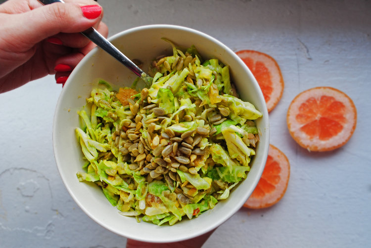Shredded Brussels Sprout Salad with Grapefruit + Avocado