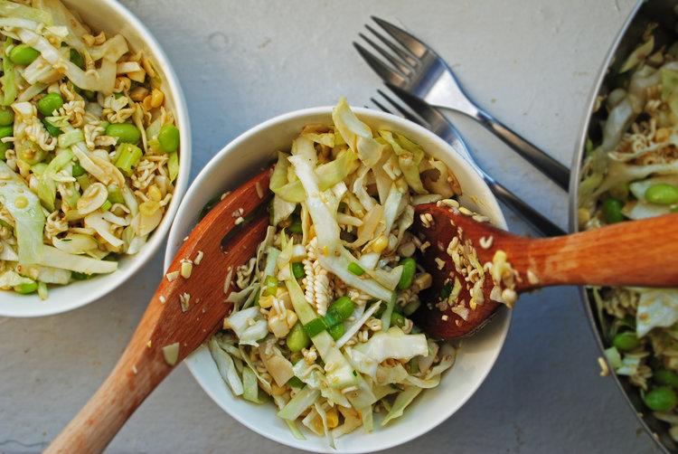 Crunchy Noodle Slaw + Honey Vinaigrette