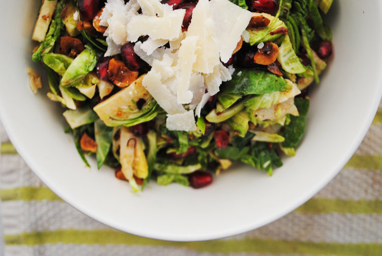Pomegranate, Parmesan + Hazelnut Brussels Sprout Salad