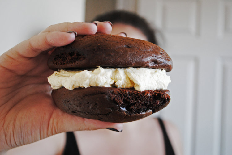 Espresso Whoopie Pies with White Chocolate Buttercream