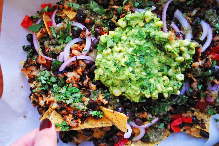 Vegan Nachos with Roasted Corn Guacamole + Salsa Verde