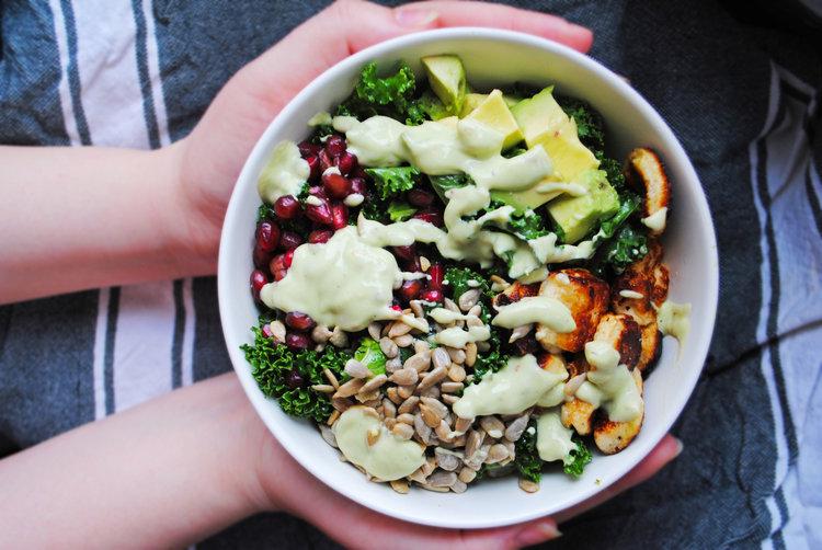Halloumi Kale Salad with Avocado Dressing