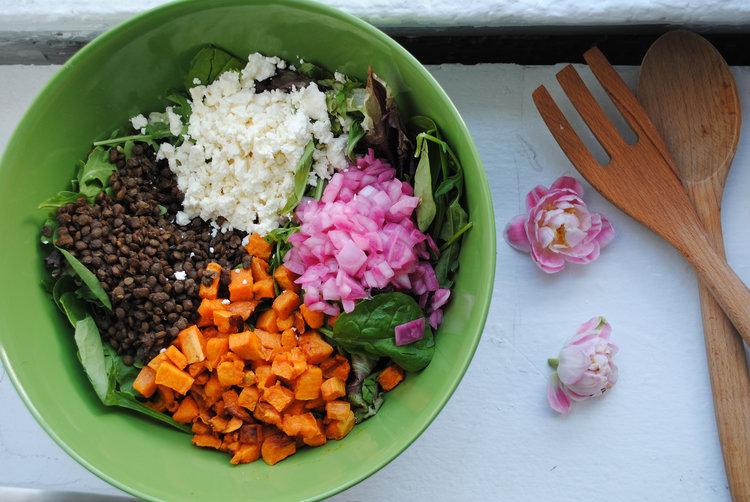 Sweet Potato + Black Lentil Salad