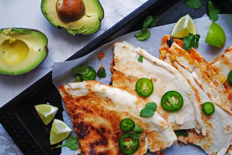 Vegan Black Bean Sweet Potato Quesadillas