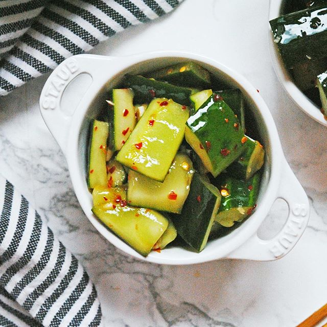 """""""people of the world, spice up your life!"""" #spicy szechaun cucumbers from @nytcooking are up on the blog today - perfect for every spice girl out there 🥒🌶♥️"""