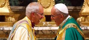 Pope Francis and Archbishop of Canterbury Justin Welby exchange a sign of peace during Vespers at the Monastery of San Gregorio al Celio in Rome, October 5, 2016.