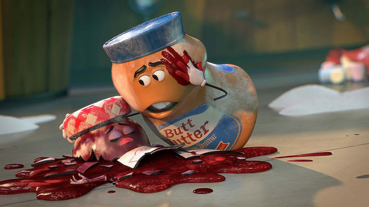 courtesy of drafthouse.com This heartbreaking scene depicts Mr. Peanut Butter mourning the loss of his lady lover after she was dropped.
