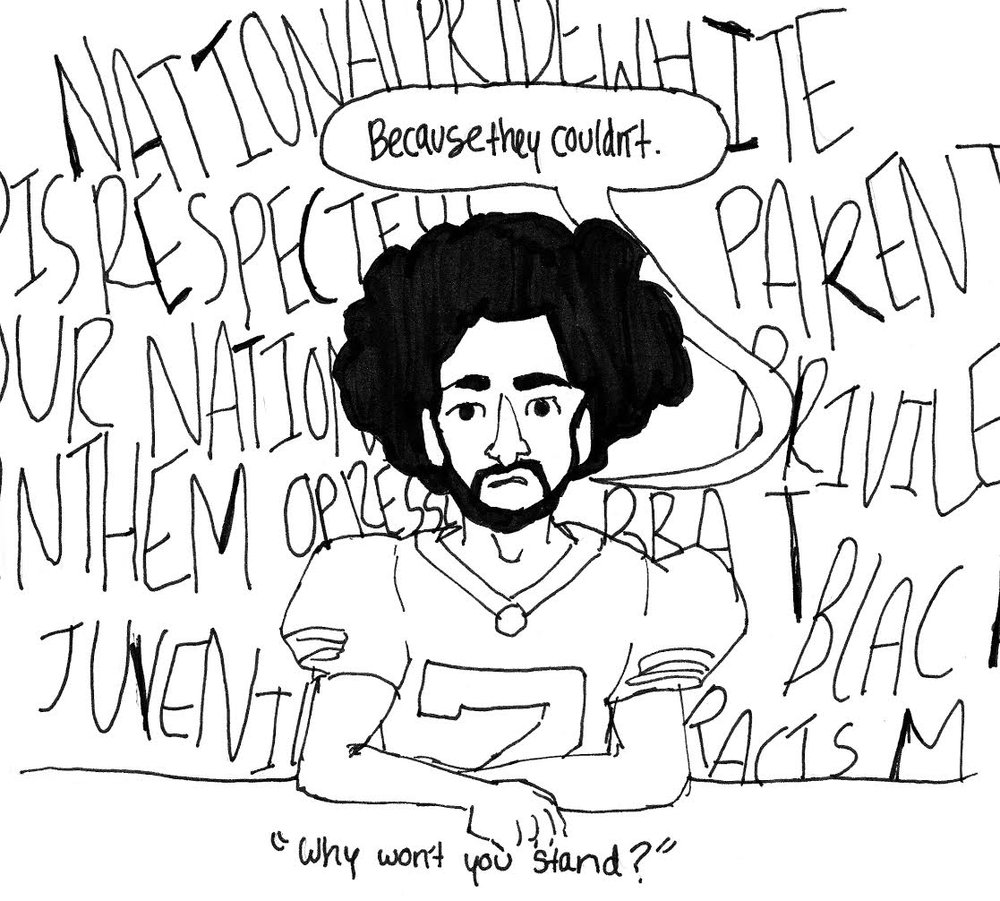 COURTESY OF MAGGIE HARVEY This cartoon illustrates the ignorant comments Kaepernick received for his protest.