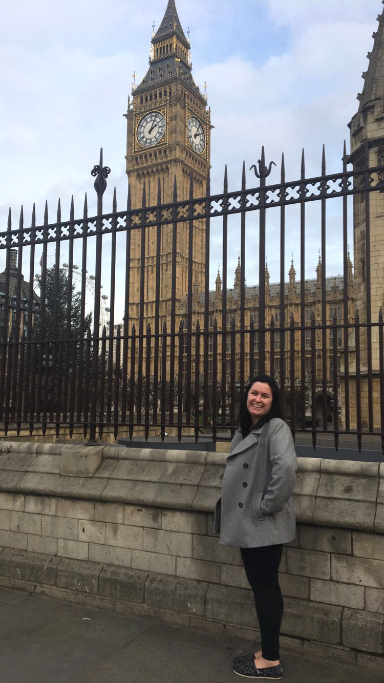 Photo Courtesy of Nikki Dalton Nikki Dalton pondering the time near the Big Ben in London.