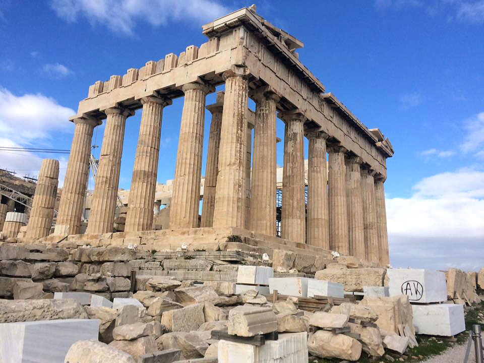 "Gaby Cedeno/ QuakerCampu    The Jan Term course ""Classical Greece and Rome"" explored the ancient ruins of Greece including the 490 foot tall Acropolis, a former temple dedicated to the goddess Athena."