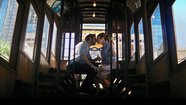 Gosling and Stone share a romantic trip on the Angel's Flight Railway which has been closed since 2013.