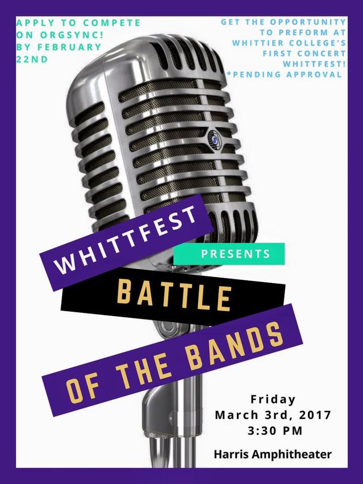 Battle of the bands will take place Friday March 3rd, at the Harris Amphitheater