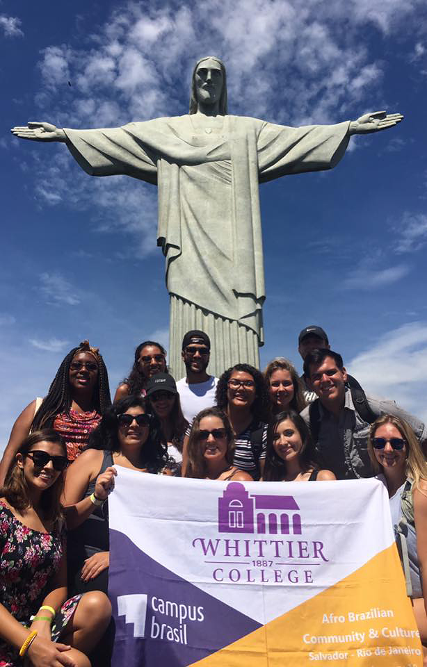 Delfín with students at Christ the Redeemer in Rio de Janeiro, Brazil during JanTerm 2017         Courtesy of Teresa Delfín
