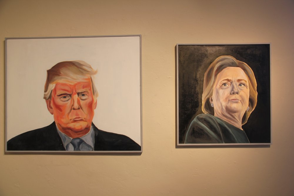 Senior Ashley Fuller offered a humanistic take on depictions of political figures such as Donald Trump and Hilary Clinton    through  her multi-dimensional acrylic paintings.