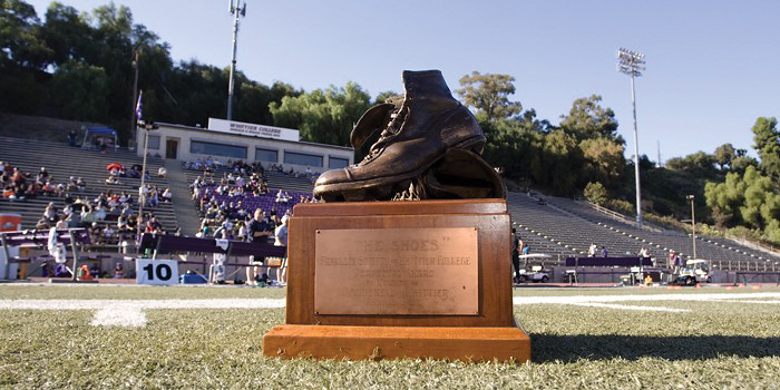 The Shoes trophy is awarded to the winner of the Whittier vs. Occidental Football game.
