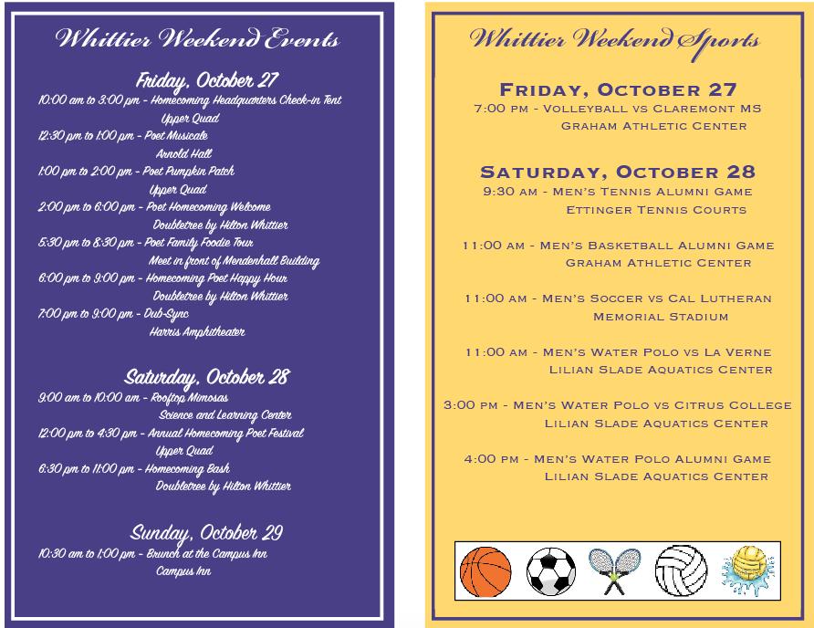 Whittier weekend events