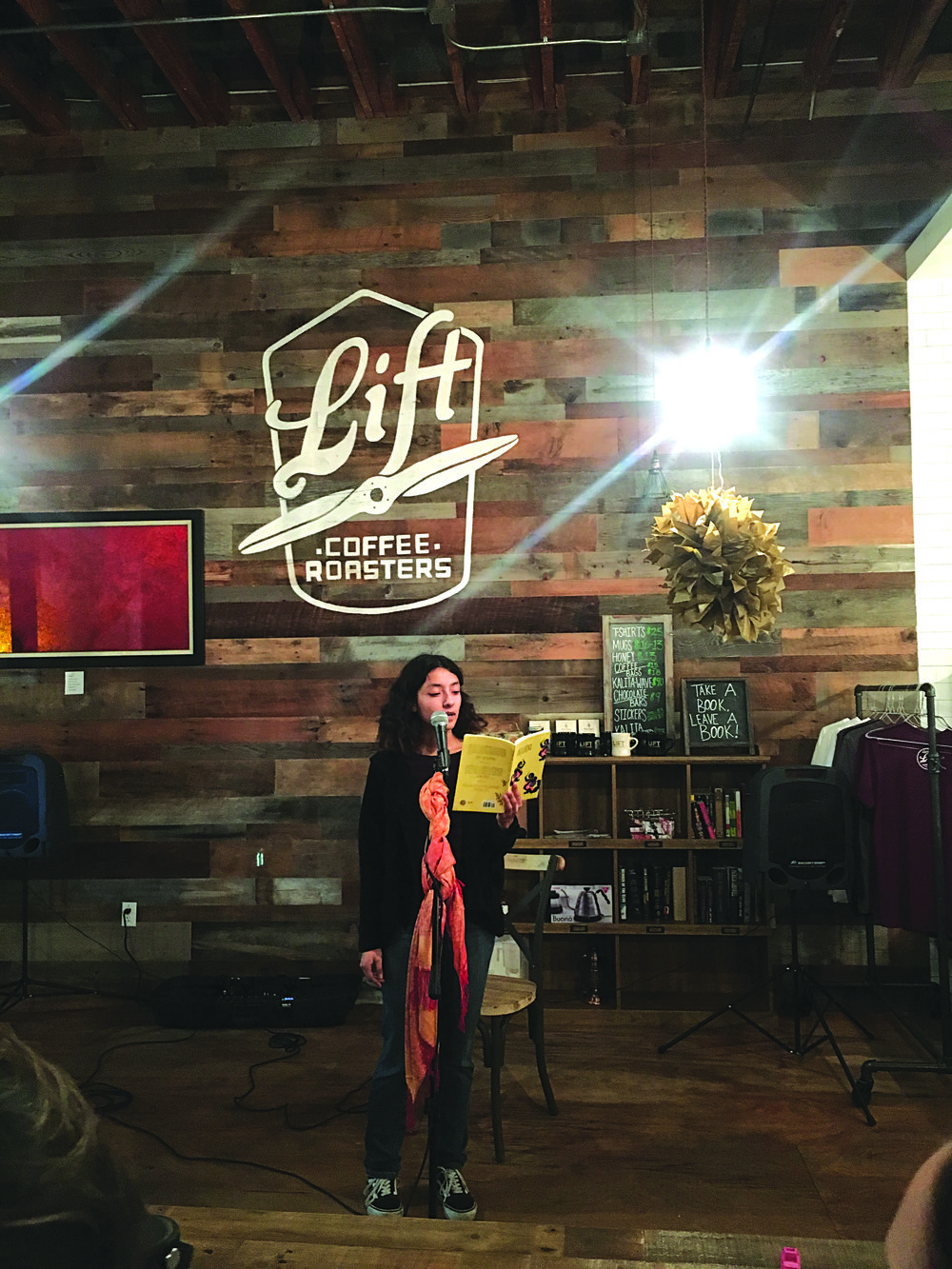 The atmosphere was full of poetic prose and Poet pride at Lift Coffee Roasters