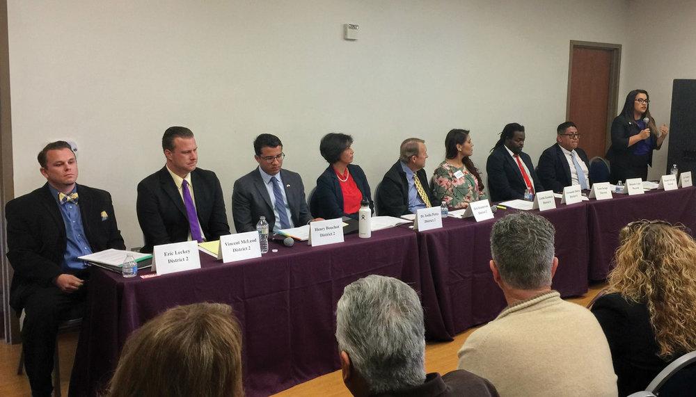 Candidates (left to right): Eric Leckey, Vincent McLeod IV, Henry Bouchot, Dr. Irella Perez, Bob Henderson, Lizette Escobedo, L. Leon Savage, Rolando   Cano, and Raquel McLeod.