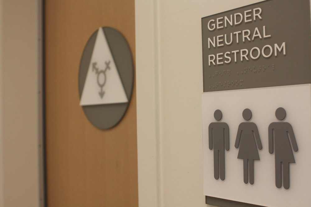 Gender neutral restroom in the Science and Learning Center.