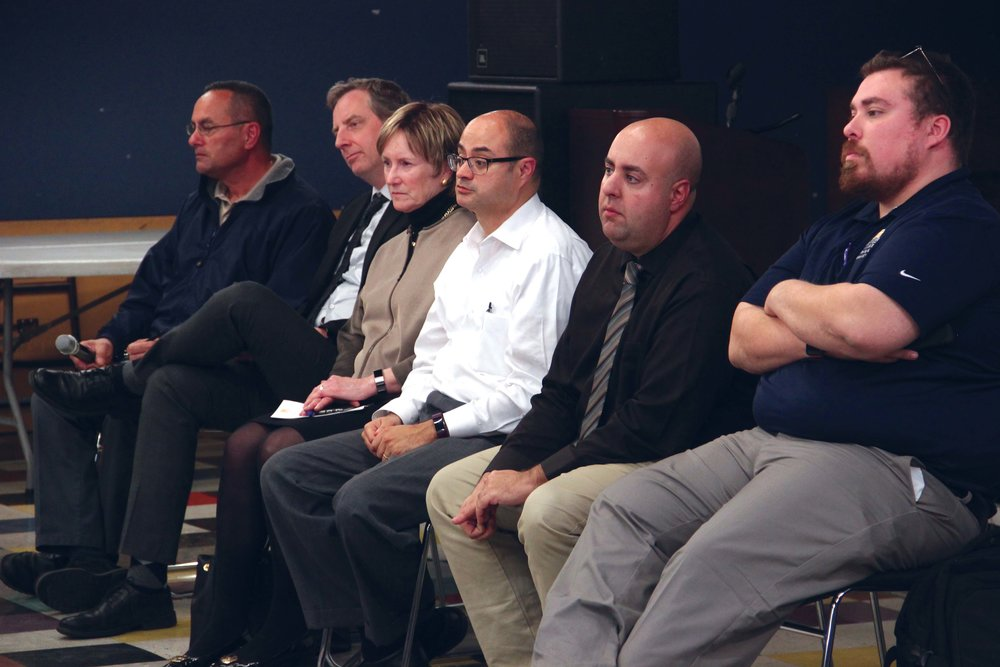 Administrators attending the ASWC  Town Hall left to right: Director of Facilities Jonathan Estrella, Professor of English Sean Morris, President Sharon Herzberger, Dean of Students Joel Perez, Dean of Students Joshua Hartman, and Associate Director of Residential Life Joeseph Melendez.