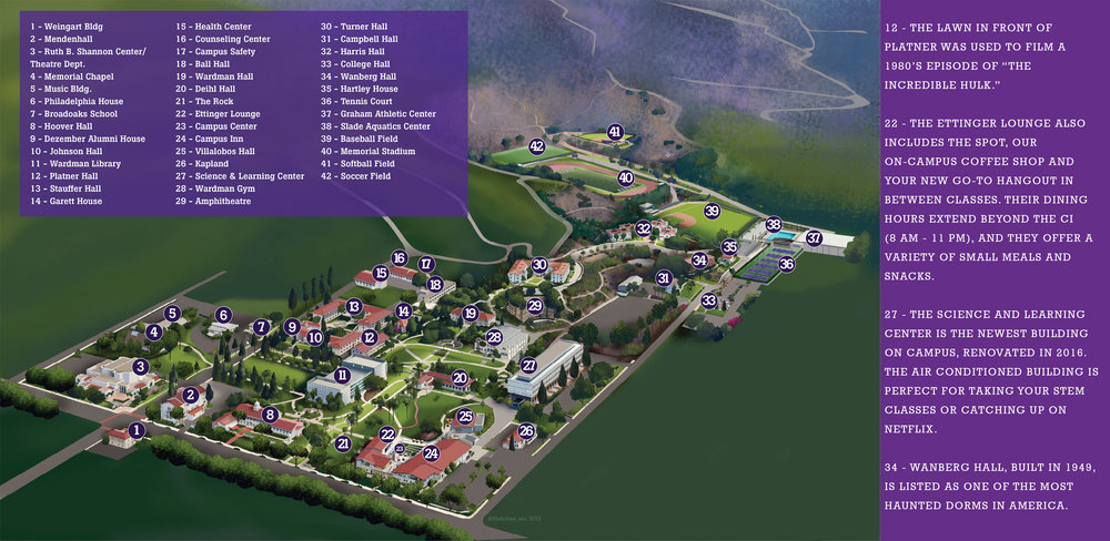Map of Whittier College with fun facts