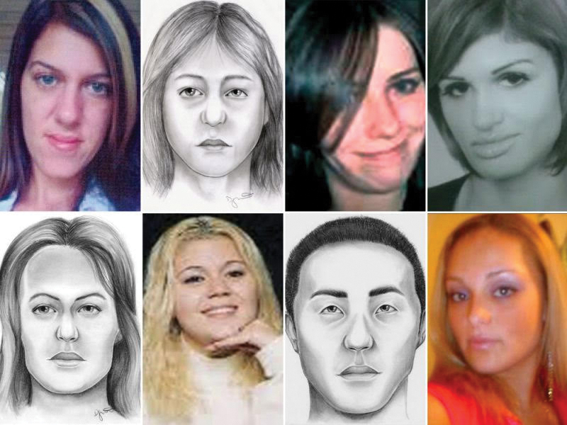 Pictures and forensic portraits of eight of the Long Island Serial Killer's victims, courtesy of  Yahoo.com