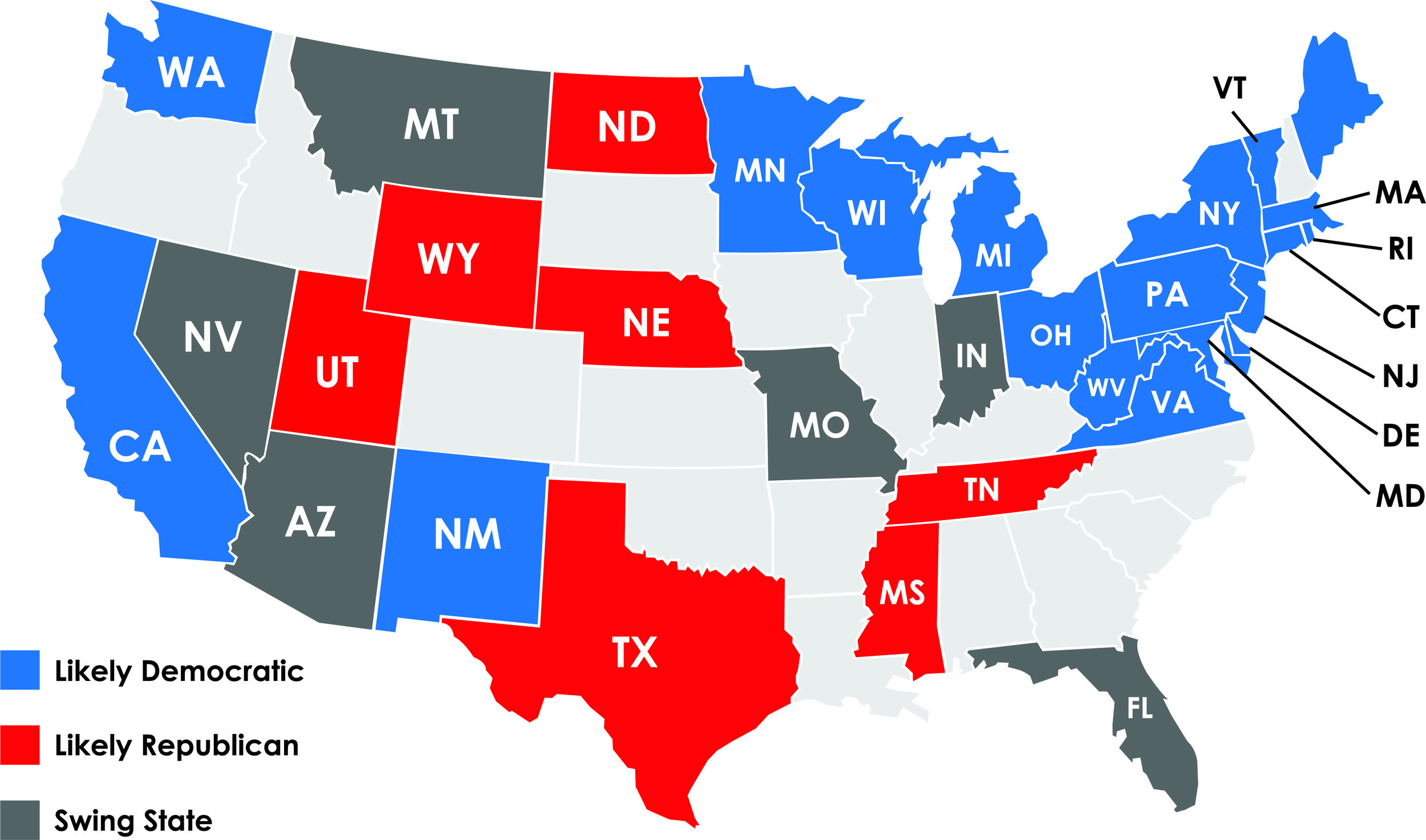 Political Parties By State Map.Political Parties Battle For Key Swing States The Quaker Campus