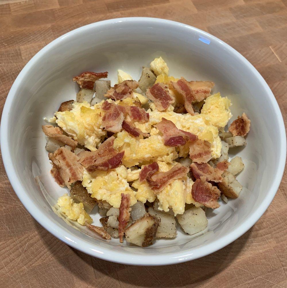 Egg, Bacon, Potato Scramble