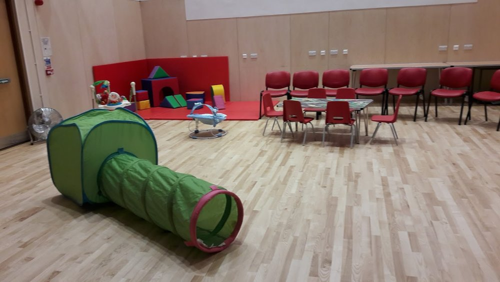 Main Hall set up for Parent & Toddlers. There are, of course, a multitude of toys scattered about for the children to use (and a cup of tea for mum and dad).