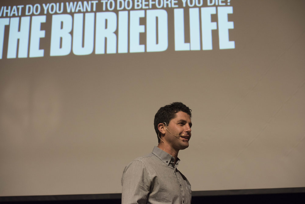 Buried Life Co-Creator/Executive Producer/cast member Ben Nemtin talking about the importance having a bucket list.  Photo by Kim Feragen (K. Feragen Photography)