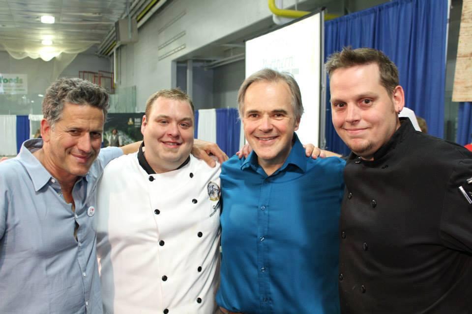 Host Bob Blumer with 2015 Iron Ore Chef winner Ryan Cyre, co-host Andy Beesley, and 1st runner up Marc Kraima