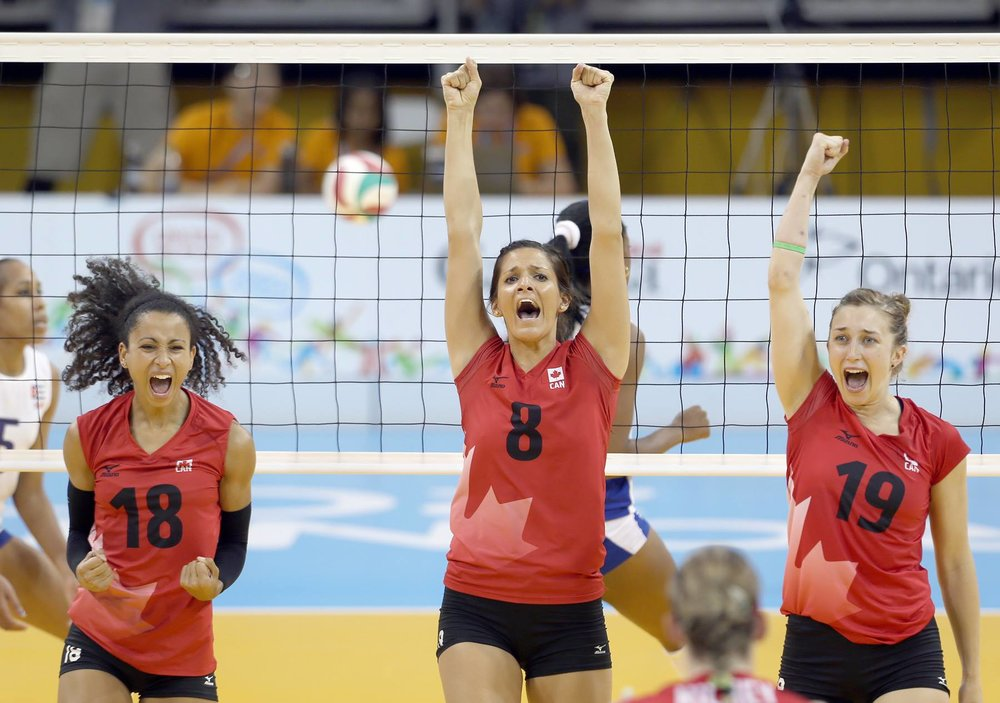 Celebrating a point vs. Cuba at the 2015 Pan Am Games in Toronto.