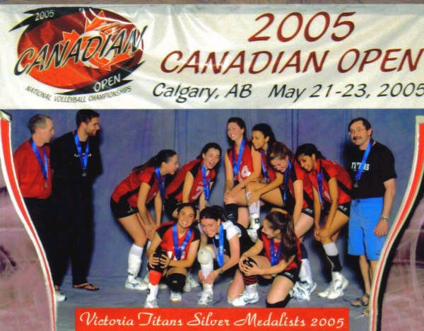 Club volleyball in 2005. National silver medalists, joking about knee pain. HAH!