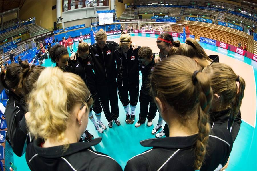 Taking the time for our 30 seconds to get our minds right before the 2nd match at the 2014 FIVB World Championships in Trieste, Italy.
