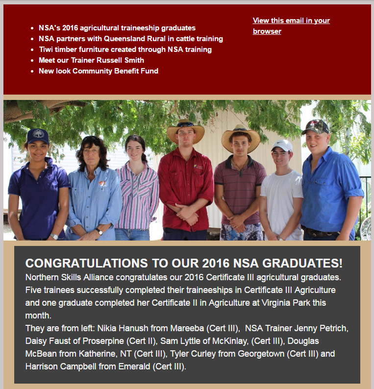 Our november e-newsletter featured our 2016 agricultural graduates.