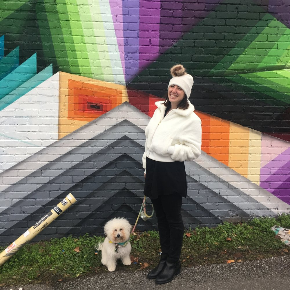 Watson and mom in front of the new Nathan Brown mural at Five Points Pizza in Nashville, TN | Watson & Walls