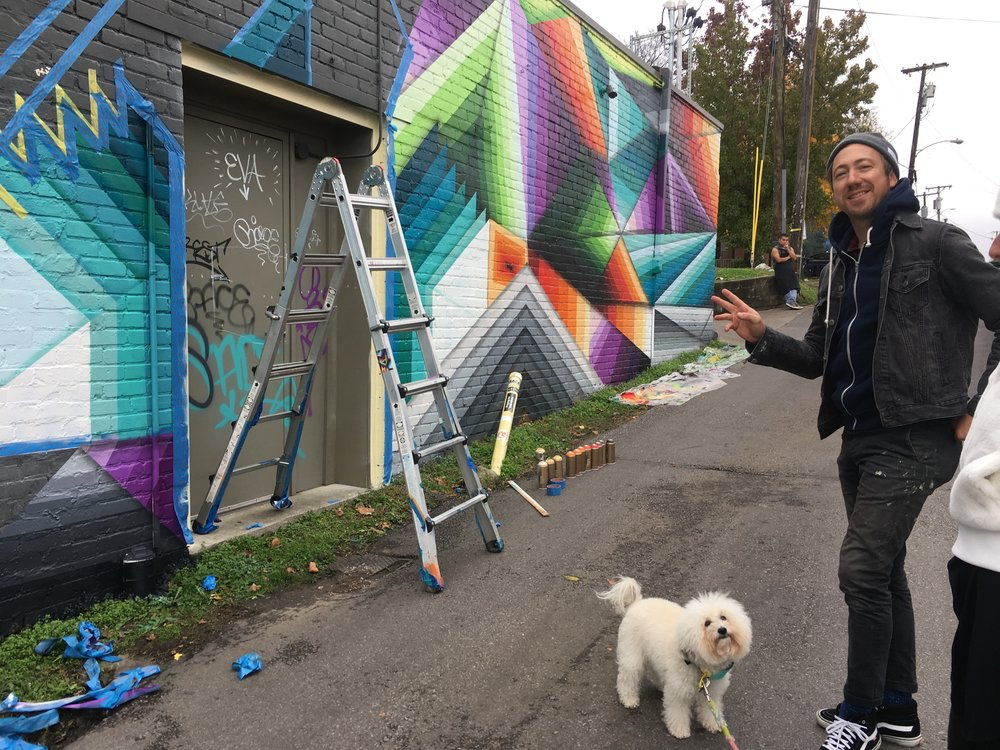 Watson with Nathan Brown the mural artist at Five Points Pizza in Nashville, TN | Watson & Walls