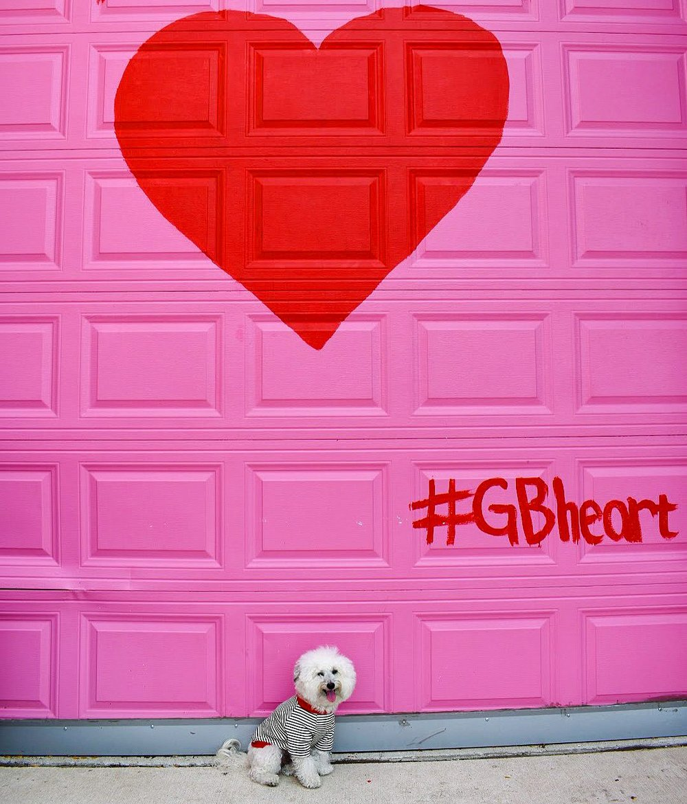 Heart mural #GBHeart in dog-friendly Chicago | Watson & Walls