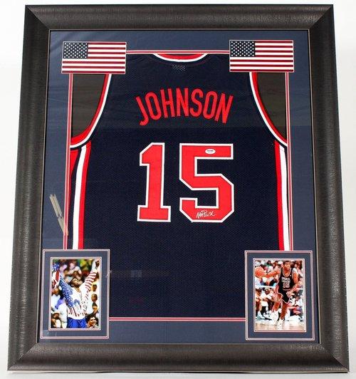 magic johnson signed team usa dream team 31x36 custom framed jersey psa coa