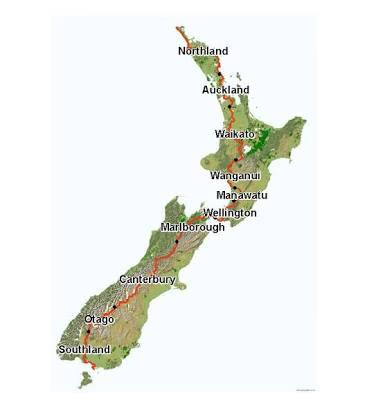 Map of the Te Araroa