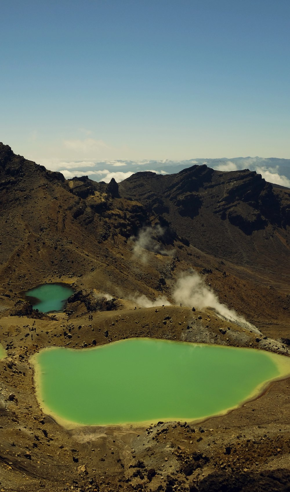 The Emerald Lakes on the slopes of Tongariro. Hard to catch a pic without too many people! The water is actually that color...