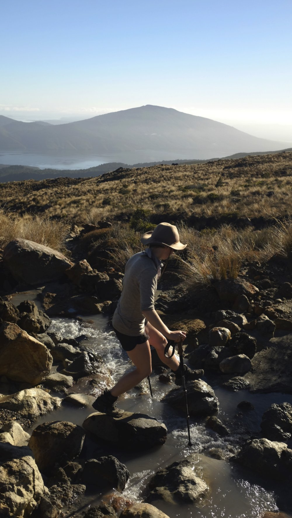 Crossing sulphuric streams on the early morning slopes of Tongariro.