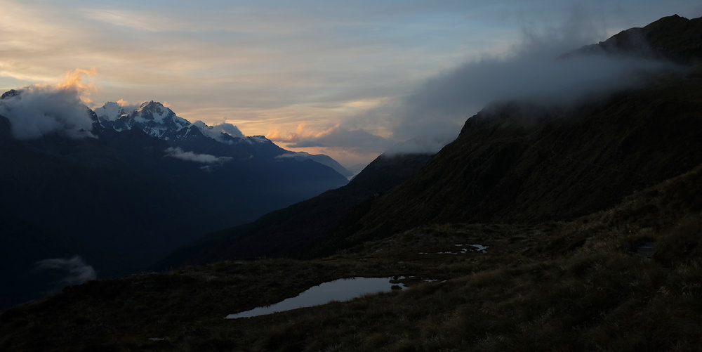 Tarns high up on the Routeburn at sunset.