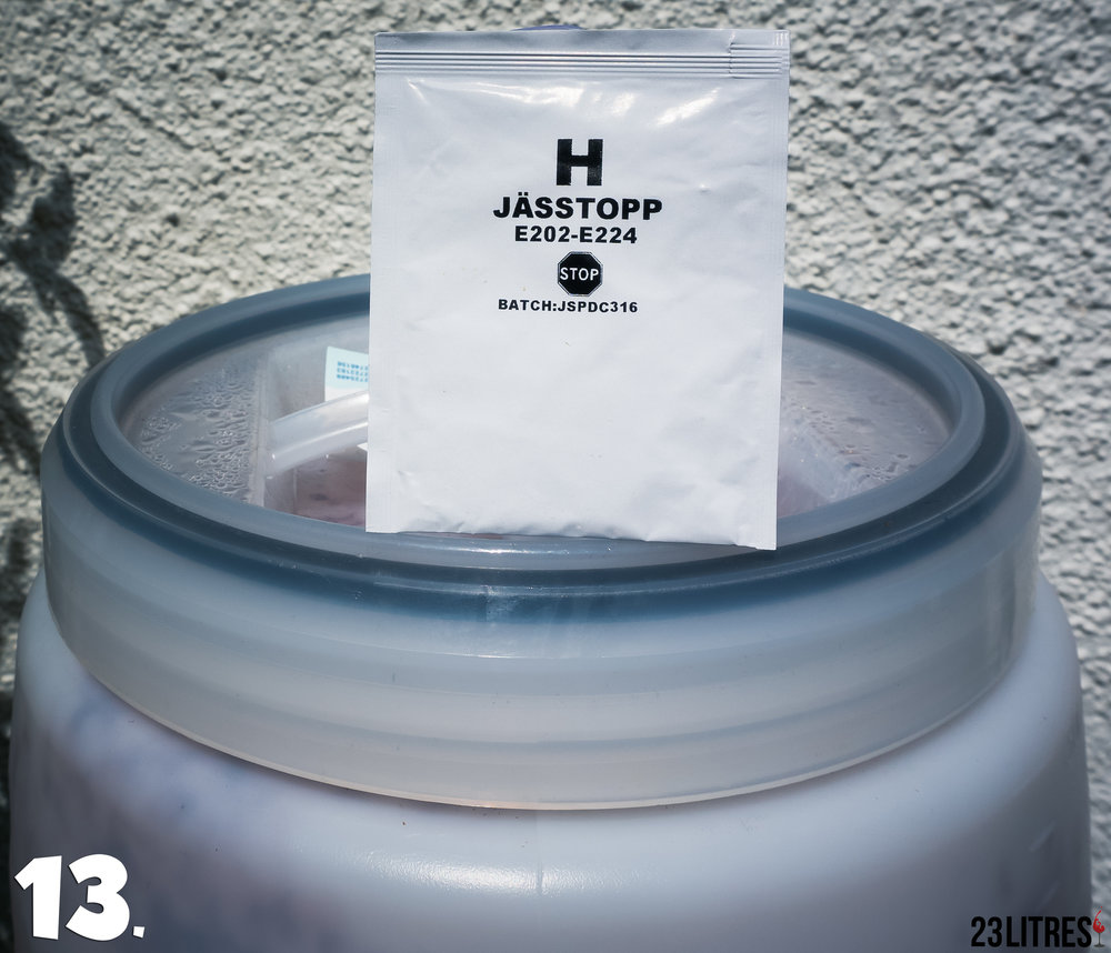 "Once the fermentation has come to a halt prepare sachet ""H"", this agent will remove carbon dioxide and stabilise the wine."