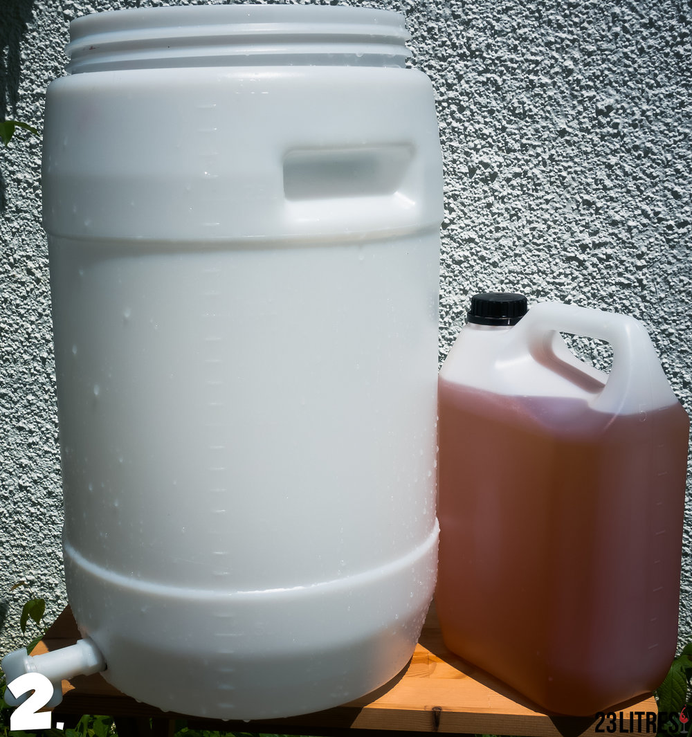 Prepare a clean 30L fermenter and the grape juice concentrate.